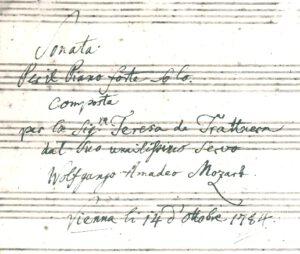 Mozart dedica a Therese Von Trattner