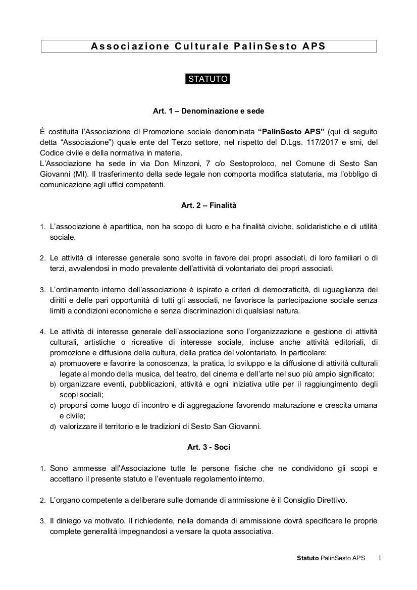 Prima pagina del nuovo statuto PalinSesto APS